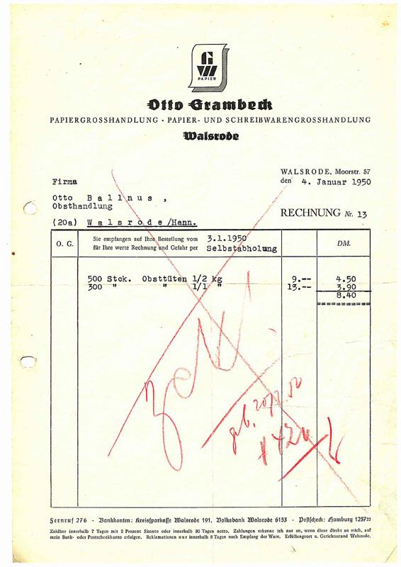 Grambeck Historie Rechnung Von 1950 Grambeck